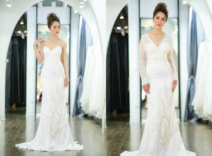 Váy được bán với giá 35 triệu đồng, giá thuê 18 triệu đồng. Trang phục: Quyên Nguyễn Bridal.