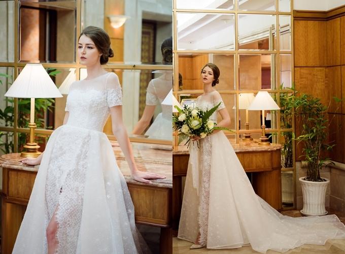 Váy cưới được bán với giá 70 triệu đồng, giá thuê 33 triệu đồng.Trang phục: Hacchic Bridal