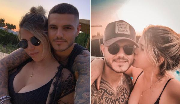Vợ chồng Mauro Icardi thường xuyên đăng ảnh tình cảm dù đang trong tâm bão chuyển nhượng. Ảnh: Instagram.