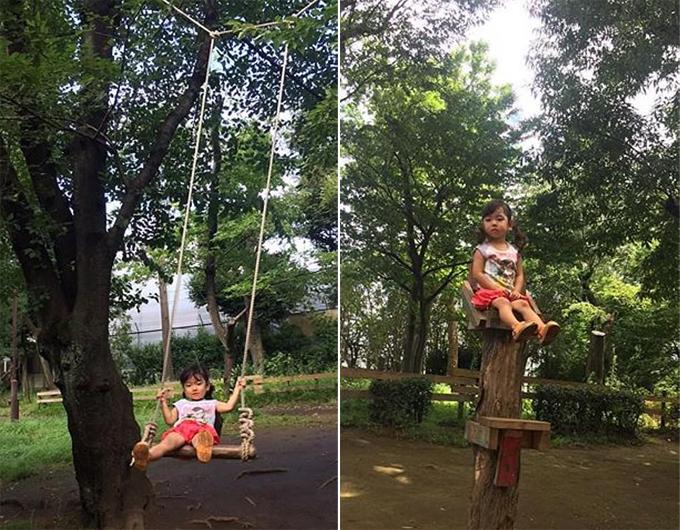 Xích đuvà ghế gỗ chênh vênh trên cao là hai tròthu hút lũ trẻ.