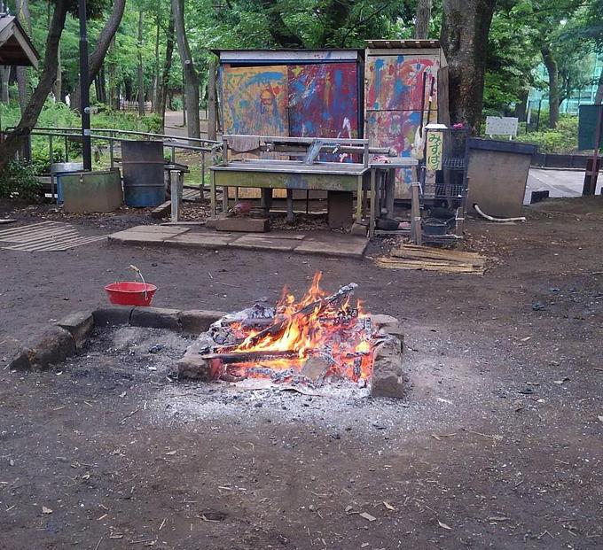 Cảnh đốt lửa thường thấy trong công viên, được sử dụng để nấu ăn và cả cho lũ trẻ đùa nghịch.
