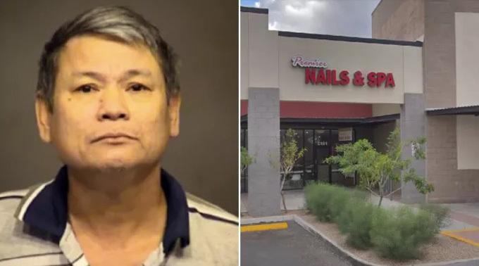 Ông Truong mới làm nhân viên trông gác cửa tiệm nail Premier Nail & Spa mới một tháng. Ảnh: ABC15.