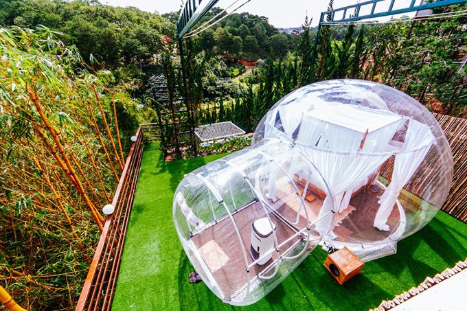 Hostel trong suốt như bong bóng khổng lồ ở Đà Lạt