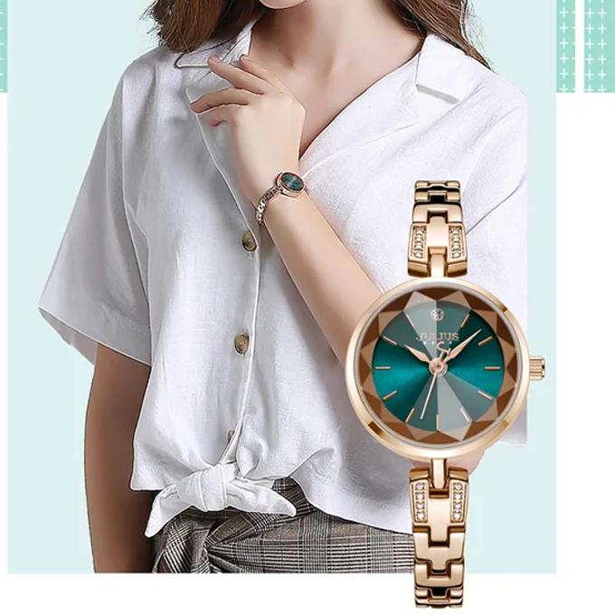 Đồng hồ nữ Julius Hàn Quốc JA-1103E dây thép đồng mặt xanh