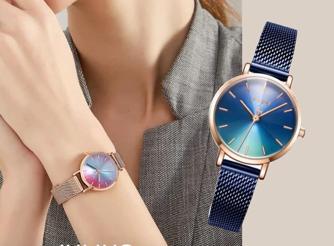 Đồng hồ nữ dây kim loại chính hãng Julius Hàn Quốc JA-1163E Xanh