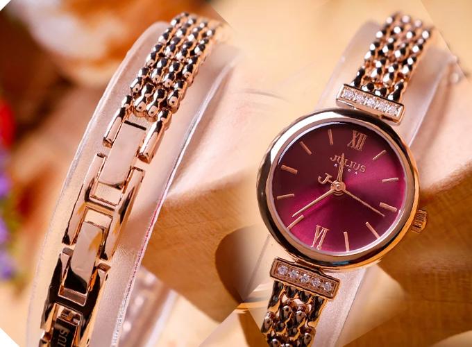 Đồng hồ nữ dây kim loại chính hãng Julius Hàn Quốc JA-1139D Đồng mặt tím