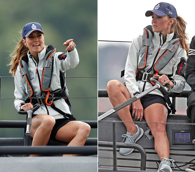 The Duchess of Cambridge gave 100 per cent as she skippered her team off the Isle of Wight this afternoon