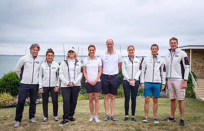 Kate made a quick outfit change into a white polo shirt and navy shorts. The royal posed alongside husband Prince William and The Kings Cup charity ambassadors, Fara Williams for CentrepointUK, Dan Snow for LDNairamb, Bear Grylls for Tusk, John Bishop for ActionAddiction, Katie Thistleton for Place2Be, and Helen Glover for AFNCCF