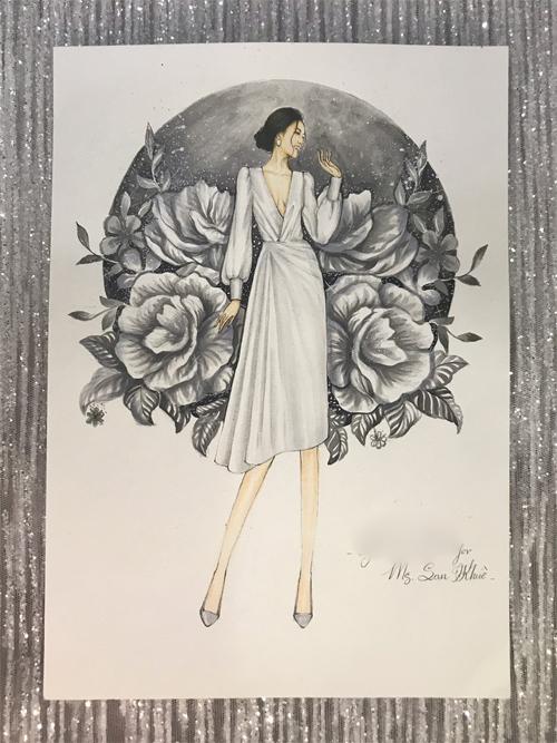 Mẫu đầm có tên Cleiot, có các phiên bản màu trắng, nude, hồng nhạt, đen và đỏ. Váy được bán với giá 1,8 triệu đồng.