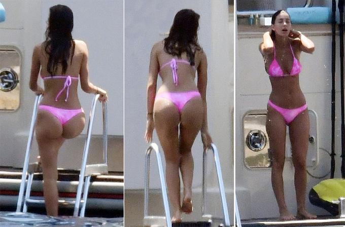 Camila Morrone khoe dáng tronb bộ áo tắm khác khi đi tắm ở du thuyền.