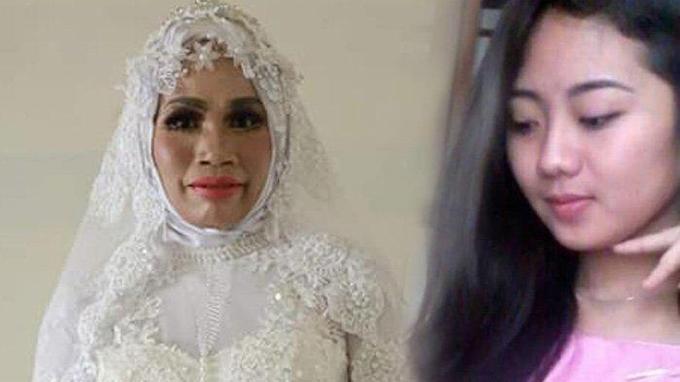 Cece thật ngoài đời (trái) và chân dung nữ nghệ sĩ trang điểm (phải)được cô dùng để lừa Yusuf. Ảnh: FB.