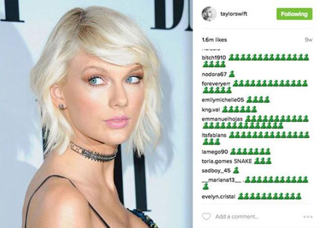 Năm 2016, Taylor Swift từng bị khủng bố trên mạng xã hội bằng biểu tượng rắn độc.