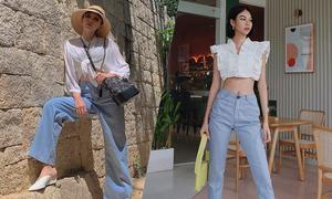 Học sao Việt phối áo trắng cùng jeans xanh