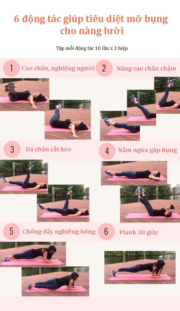 6 động tác vừa nằm vừa tập vẫn giảm được mỡ bụng