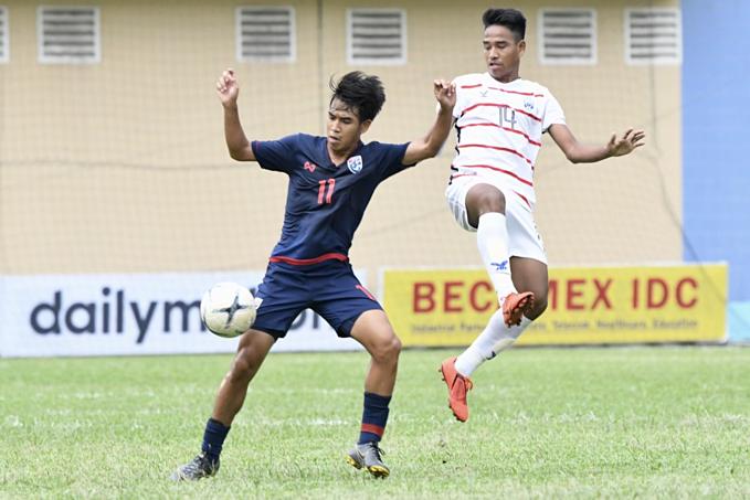 U18 Thái Lan trong trận gặp Campuchia hôm 9/8. Ảnh: FAT.