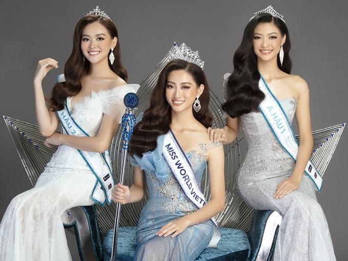 Top 3 Miss World Vietnam 2019: Á hậu 2 Tường San, Hoa hậu Thuỳ Linh, Á hậu 1 Kiều Loan.
