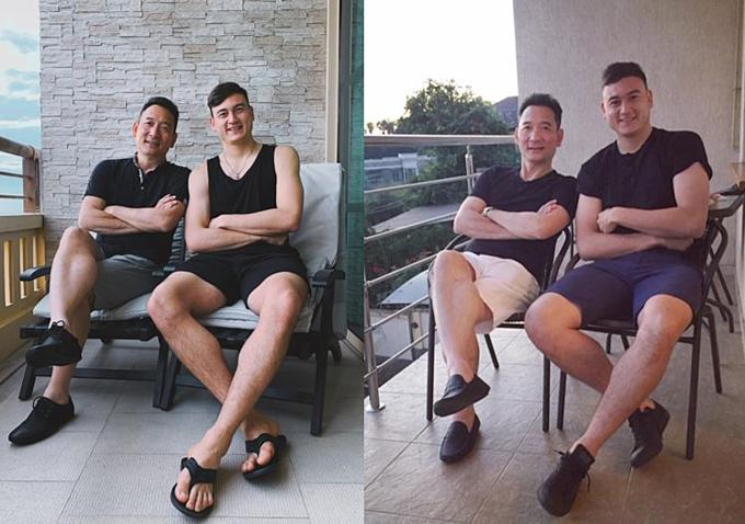 Văn Lâm và bố chụp với nhau gần đây ở Thái Lan (ảnh trái) và hai năm trước.