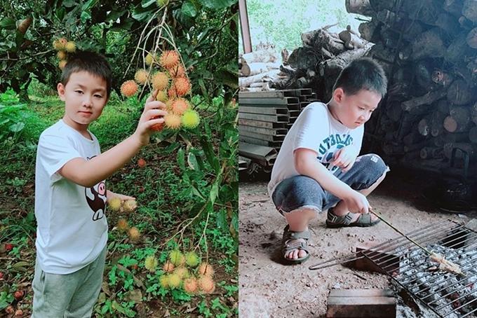 Vợ chồng Lê Phương thường xuyênđưa con về quê trải nghiệm cuộc sống dân dã, thay vì mãi gò bó ở thành phố.