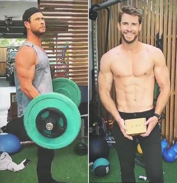 Liam đến ở tại nhà của anh trai - ngôi sao Avengers Chris Hemsworth (bên trái) - tại vịnh Byron. Chris từng đăng video tập gym tại sân sau biệt thự cùng Liam hôm 4/8.