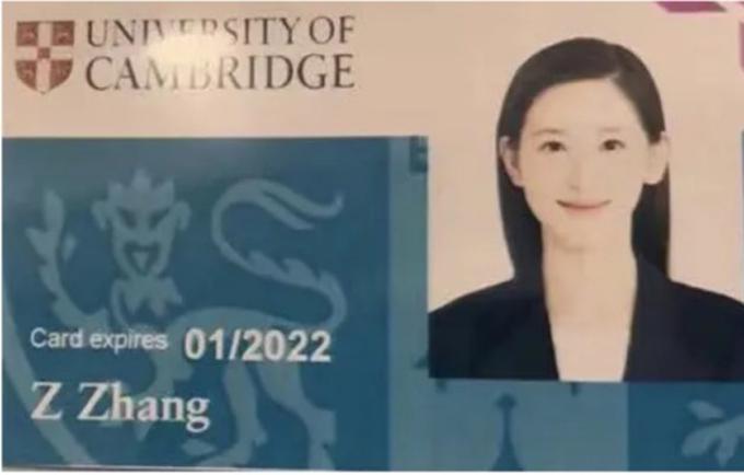 Thẻ sinh viên trường ĐH Cambridge của Chương Trạch Thiên. Ảnh: QQ.