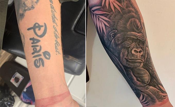Hình xăm cũ (ảnh trái) và mới của Chris Zylka.