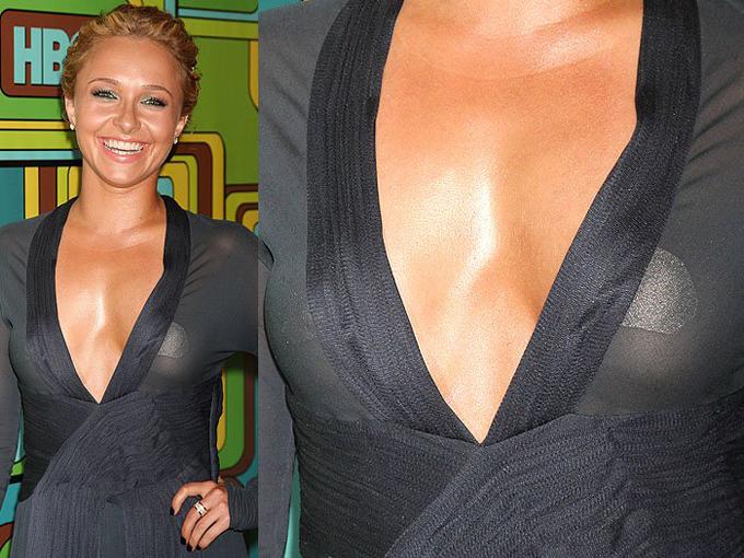 Độ xuyên thấu của trang phục đã tố cáo loại phụ kiện mà Hayden Panettiere dùng trên thảm đỏ.