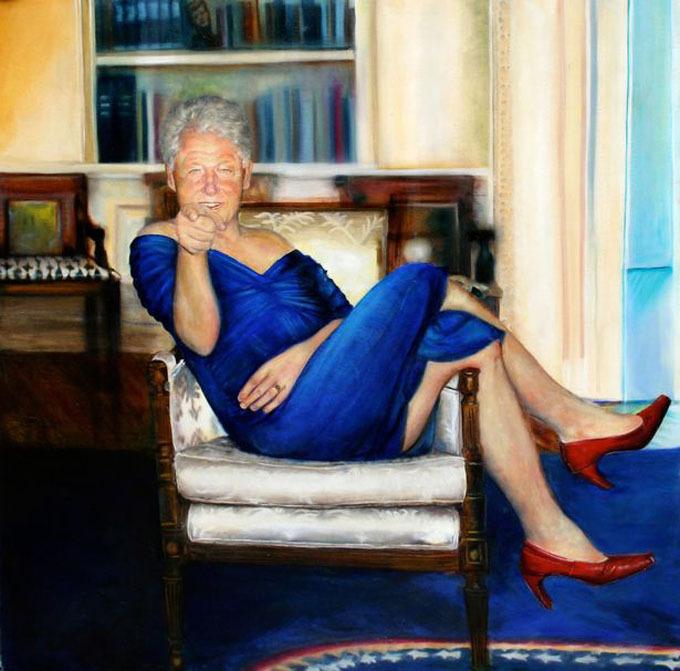 Bức tranh Clinton treo trong biệt thự của Epstein được chụp lại.