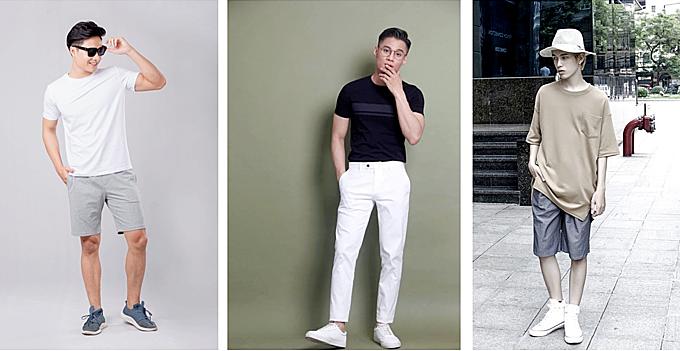 Ba dáng áo thun nam giới phổ biến. Từ trái qua: Regular fit,Slim fit, Big size. Ảnh: Coolmate.