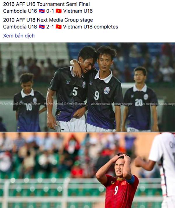Năm 2016, Việt Nam từng khiến Campuchia khóc hận khi giành chiến thắng 1-0 ở giải U16 Đông Nam Á. Tới năm nay, Việt Nam là những người phải rơi lệ sau trận thua 1-2 trước Campuchiavà bị loại khỏi giải U18 Đông Nam Á.