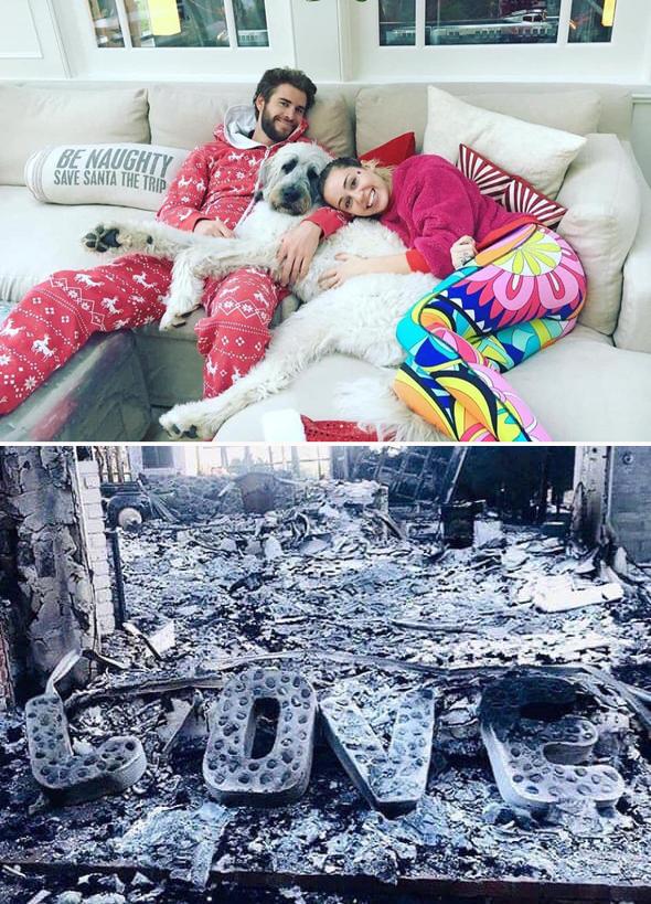 Tổ ấm ở Malibu của Miley và Liam trước và sau khi bị lửa thiêu rụi.