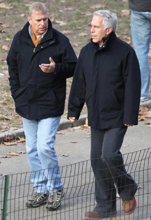 Hoàng tử Anh và tỷ phú Epstein đi dạo và nói chuyện trong Central Park hồi tháng 12/2010. Ảnh: Rex.