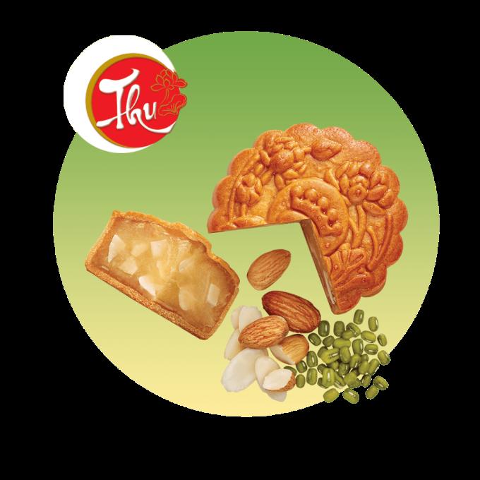 Hình ảnh bánh nướng đậu xanh hạnh nhân của Kinh Đô.