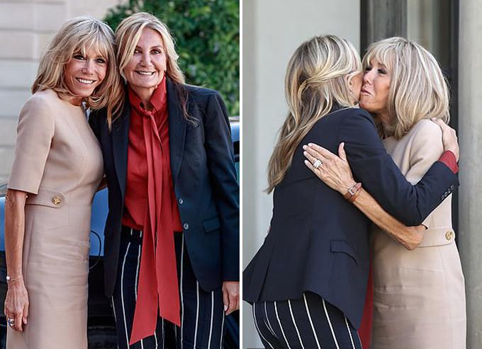 Đệ nhất Pháp ôm hôn phu nhân Thủ tướng Hy Lạp ở Điện Elysee, Paris, hôm 22/8. Ảnh: EPA.