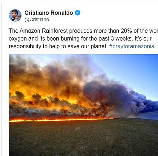 Ronaldo đưa thông điệp trêncác trang mạng xã hội cá nhân vớihàngtrăm triệu người theo dõi.