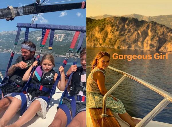 Gia đình biểu tượng thời trang còn tham gia loạt hoạt động thể thao ngoài trời trên biển như dù bay ca nô