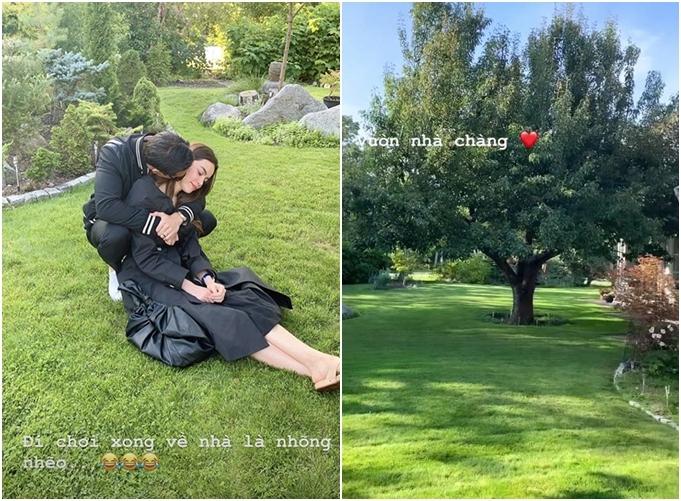 Hồ Ngọc Hà nhõng nhẽo bạn trai khi ngồi nghỉ ngơi trong vườn nhà Kim Lý.