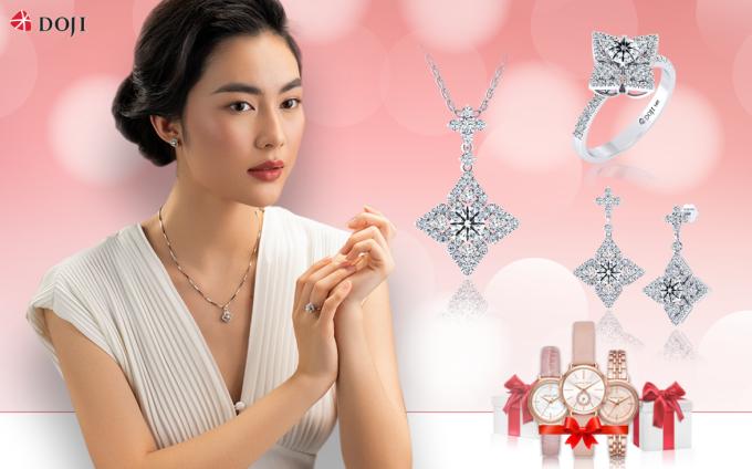DOJI cũng giới thiệu những thiết kế trang sức gắn kim cương siêu lý tưởng 8 Trái tim và 8 Mũi tên (8 Heart & 8Arrows) trong chương trình này.