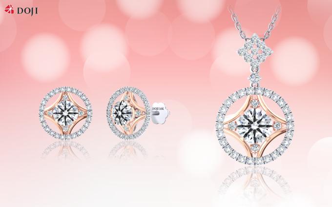 Mẫu thiết kế kim cương kết hợp với vàng tinh xảo.