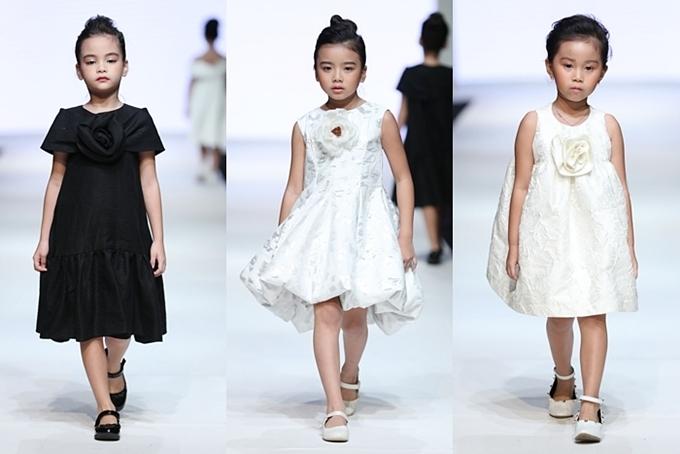 Các form váy suông, bồng, cầu vai và hình khối 3D vốn gắn liền với tên tuổi cũng được anh đưa vào Little love.