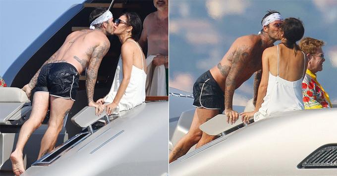 Trên du thuyền của Elton John hôm 25/8, Becks và bà xã