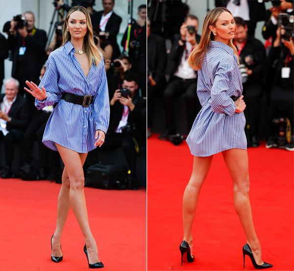 Chân dài của Victorias Secret, Candice Swanepoel, khoe dáng thanh mảnh sau một năm sinh con.