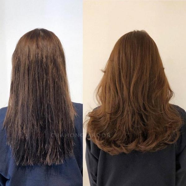 Mái tóc xơ rối sẽ biến hình sau khi được hấp phục hồi, đổi màu nhuộm và uốn xoăn nhẹ.