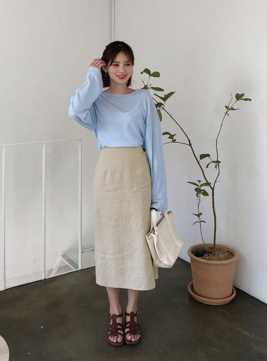 Phối chân váy midi cho đồ mùa thu - 11