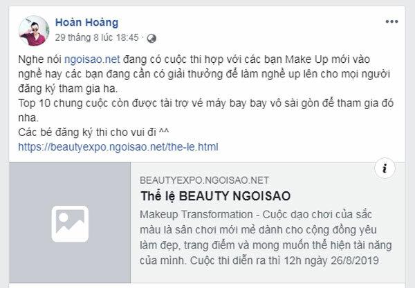 Bên cạnh các người đẹp, không ít chuyên gia trang điểm Việt chia sẻ nội dung về cuộc thi và kêu gọi các bạn yêu làm đẹp cùng tham gia như Vĩnh Thụy, Hùng Việt...