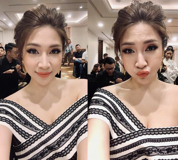 Style bánh bèo không vô dụng đi dự họp báo Triển lãm làm đẹp - Beauty Expo do báo ngoisao.net tổ chức.