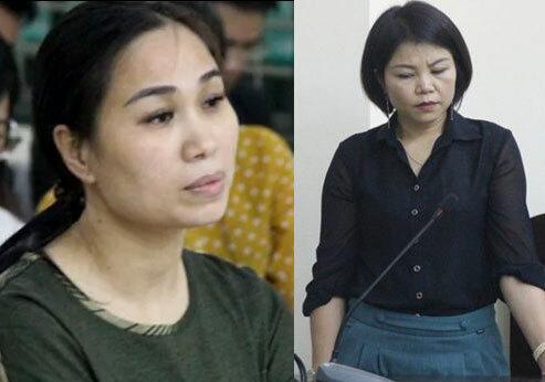 Nguyễn Thị Vân (trái) và Nguyễn Thị Vững tại phiên tòa ngày 10/4.