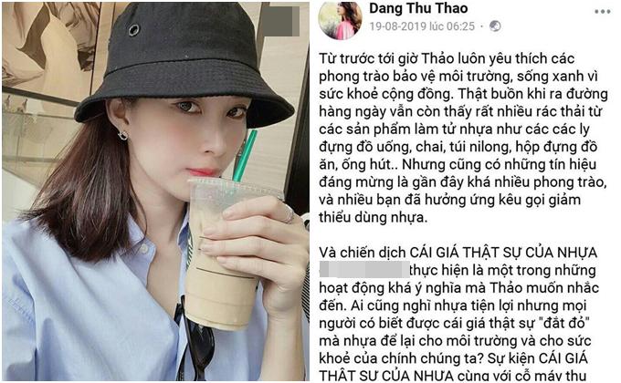 Hoa hậu Thu Thảo bị soi vẫn dùng đồ nhựa sau khi kêu gọi.
