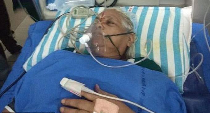 Cụ bà Erramatti sau ca sinh nở hôm 5/9 tại Ấn Độ. Ảnh: News Lions.
