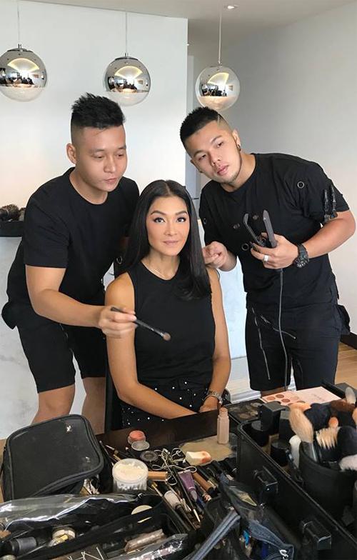 Cặp đôi trang điểm làm tóc Quân - Pu makeup cho người mẫu, diễn viên Thái Lan Lukkade Metinee.