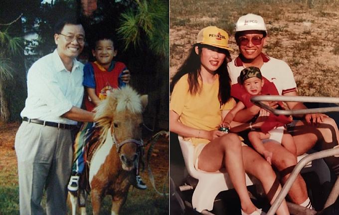 Justin Tam và cha mẹ khi họ còn chung sống.
